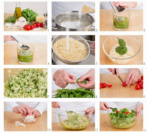 Chicken orzo salad with pesto being prepared
