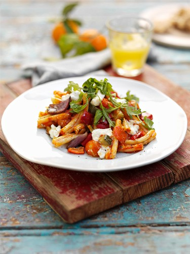 Pasta with roasted vegetables and feta cheese
