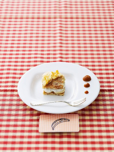 Crepes with bananas, caramel and chocolate liqueur