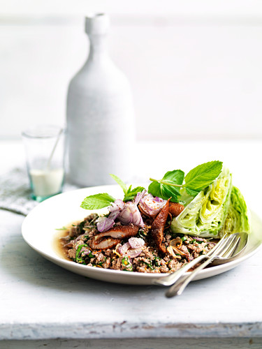 Larb ped (Isaan duck dish)