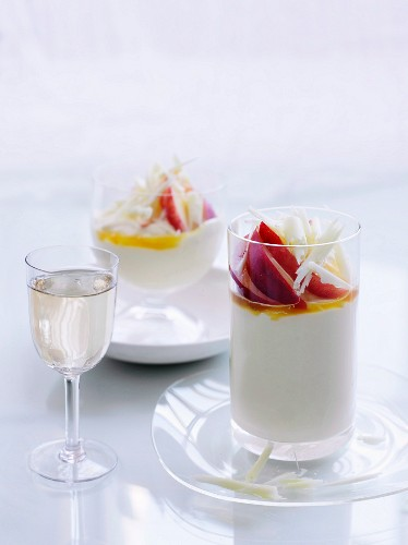White chocolate mousse with passion fruit syrup and nectarines