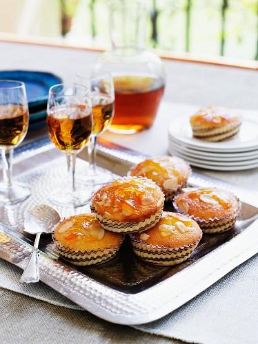 Orange and almond cakes and dessert wine