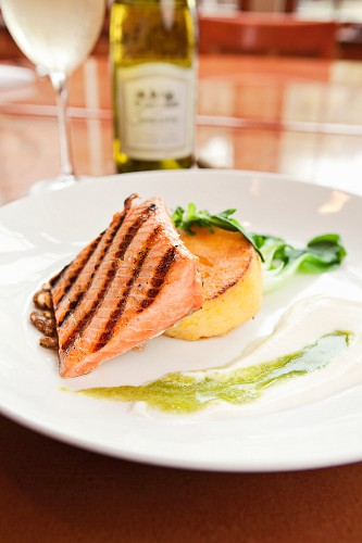 Grilled Alaskan King Salmon with Polenta Cake and Grilled Lime Emulsion