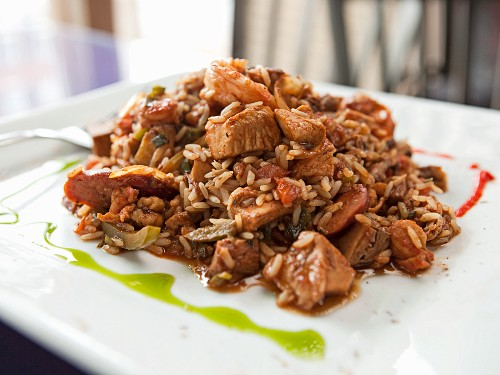 Country Jambalaya; Rice with Onions, Peppers, Celery, Pulled Pork, Chicken, Sausage, Shrimp and Crawfish