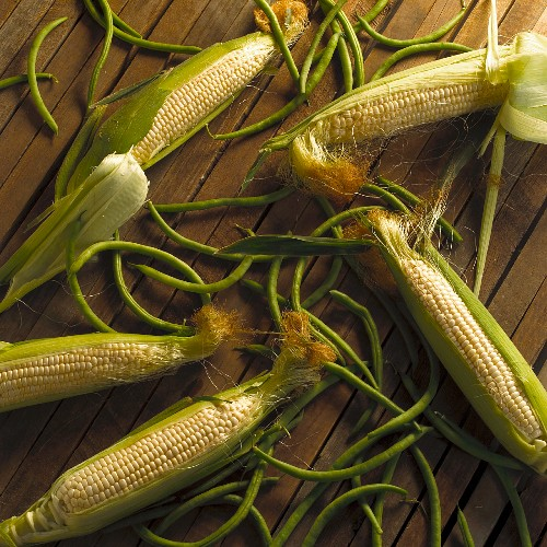 Partially Husked Corn Cobs and Green Beans on Wooden Slabs