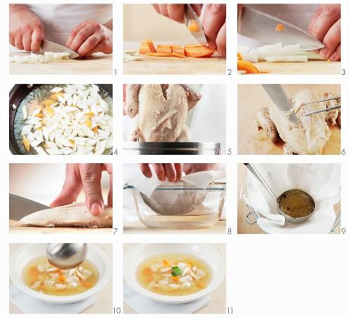 Hühnersuppe zubereiten
