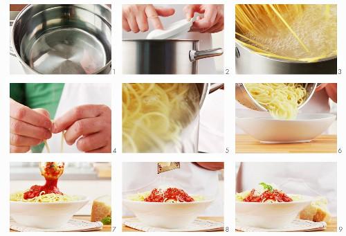 Spaghetti napoli being prepared