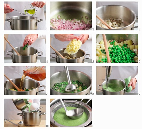 Making cream of pea soup