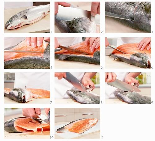 Filleting salmon