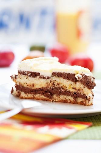 A slice of egg liqueur cake for Easter