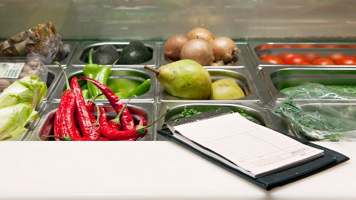 Fresh fruit and vegetables in a chiller cabinet