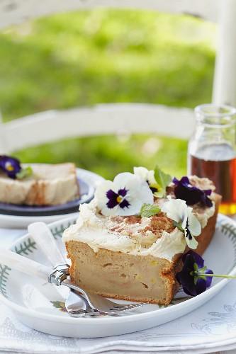 Sweet potato & banana cake with cinnamon and meringue buttercream