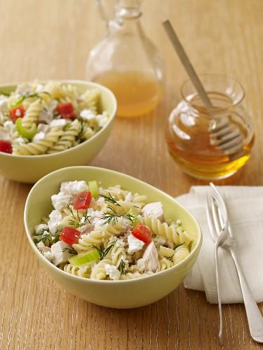 Rotini Pasta and Feta Cheese Salad; Honey and Dressing
