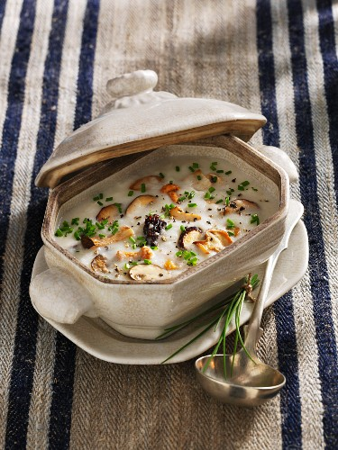 Jerusalem artichoke soup with wild mushrooms