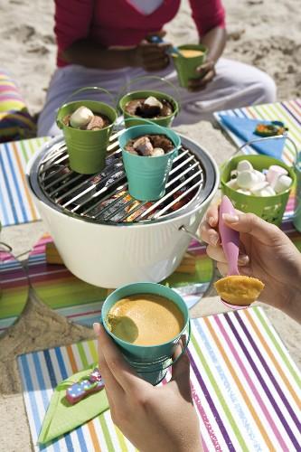 Barbecued marshmallows and Amarula cream