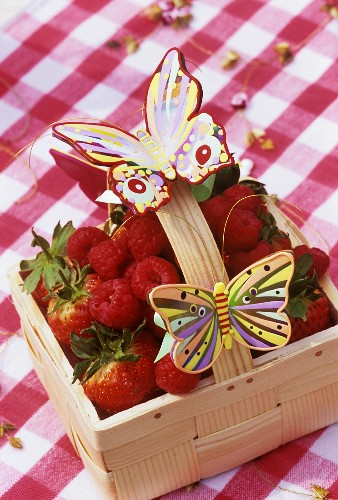 Modelling clay butterflies on punnet of berries