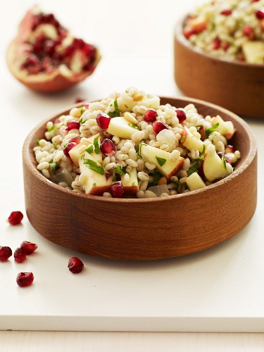 Apple Pomegranate and Barley Salad in Wooden Bowls