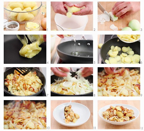 Fried potatoes being made (German voice-over)