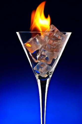 Fire and Ice in a Stem Glass