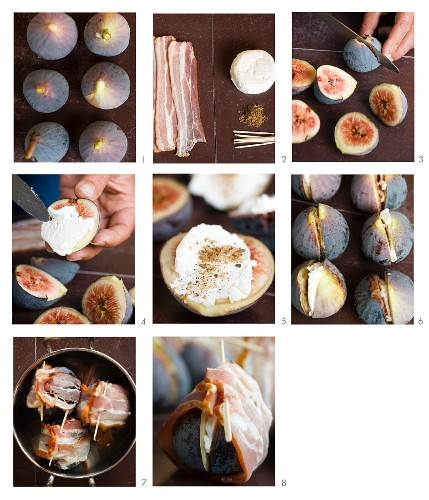 Figs with goat's cheese wrapped in bacon