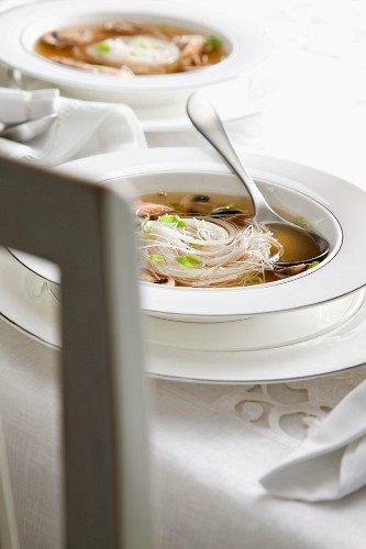 Miso soup with rice noodles