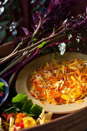 Marigold and nasturtium petals