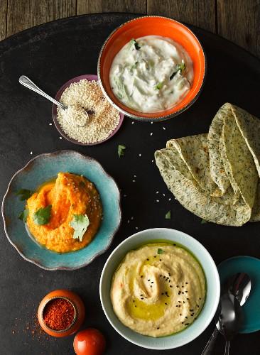 Various Oriental dips and unleavened bread