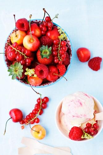 Red berries, cherries and ice cream