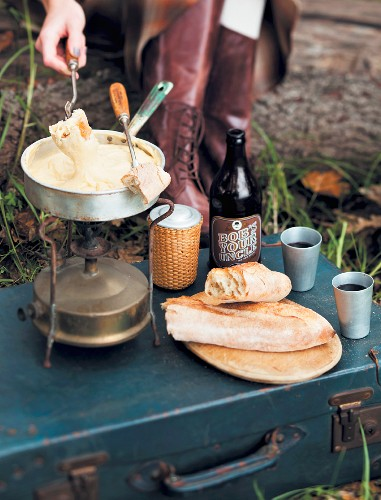 An autumn picnic with cheese fondue on a camping stove
