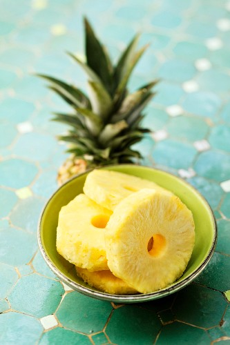 Pineapple slice in a bowl