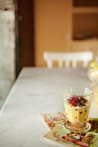 Zabaglione with blackcurrants and redcurrants