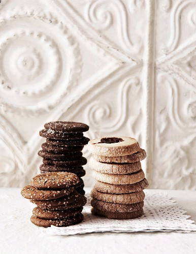 Ginger biscuits, chocolate biscuits and jam biscuits