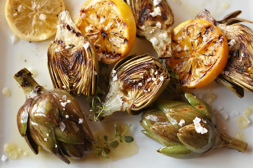 Roasted Jerusalem Artichokes on Olive Oil, topped with Thyme and Fleur de Sel with Meyer Lemon