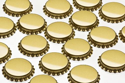 Metal Bottle Caps on White
