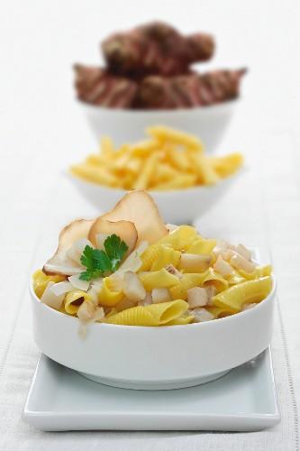 Garganelli pasta with Jerusalem artichokes
