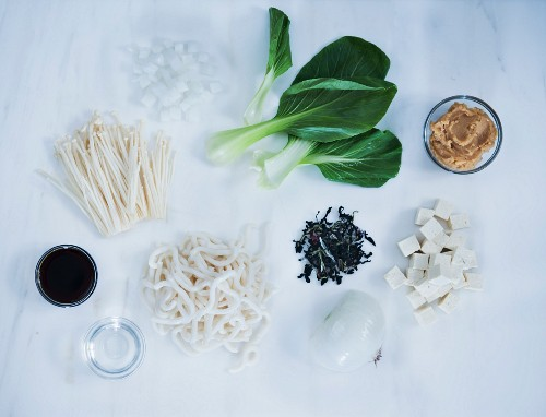 Miso Soup Ingredients: Bok Choy, Mushrooms, Onion, Miso, Noodles, Tofu and Soy Sauce