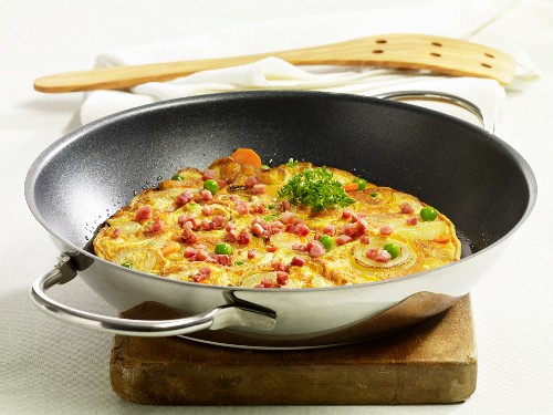 A country omelette in a pan
