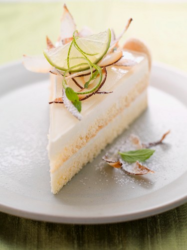 A slice of coconut, lime and yoghurt tart