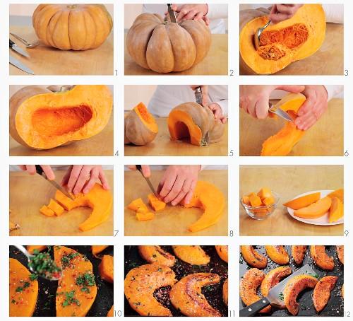 Baked pumpkin wedges being prepared