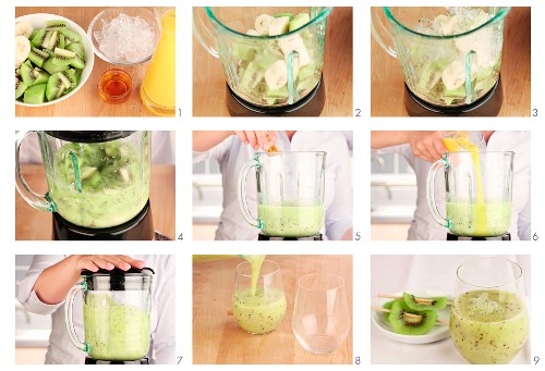A kiwi and banana smoothie being made