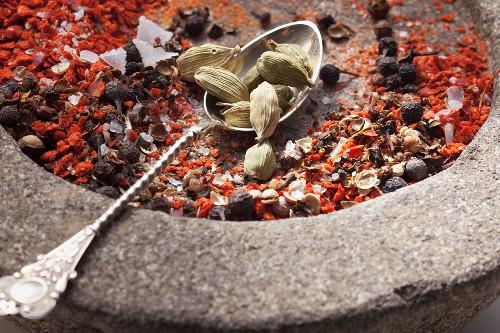 Gewürze für Gewürzmischung im Steinmörser & auf Löffel
