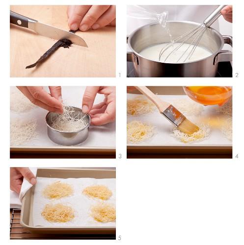 Milchpudding mit Rosenwasser und Engelshaar-Nudeln zubereiten