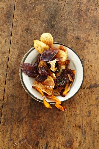 Home-made potato and carrot crisps