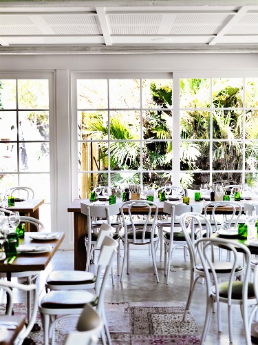 Tables laid for service at Bistro Chiswick, Sydney