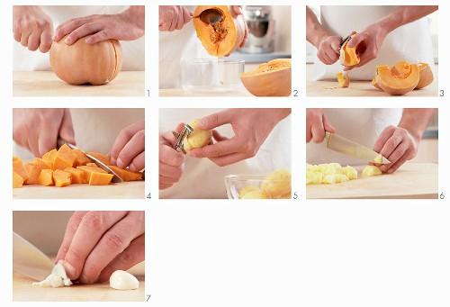 Pumpkin soup being made