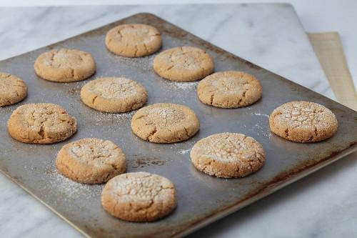 Fresh Baked Sugar Cookies on a Sheet Pan