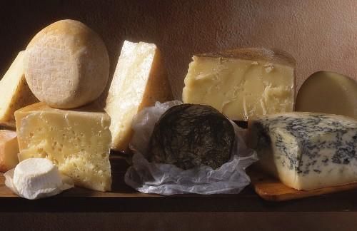 A still life of Italian cheeses
