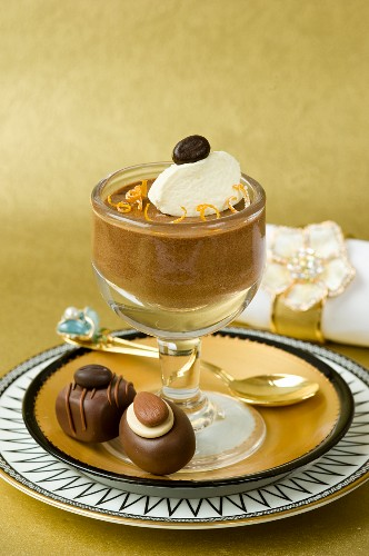 Chocolates and a chocolate mousse with orange and mascarpone