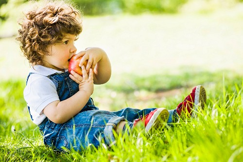 A small boy with a large apple