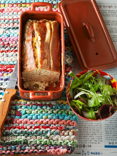 Chicken terrine with smoked ham, served with salad